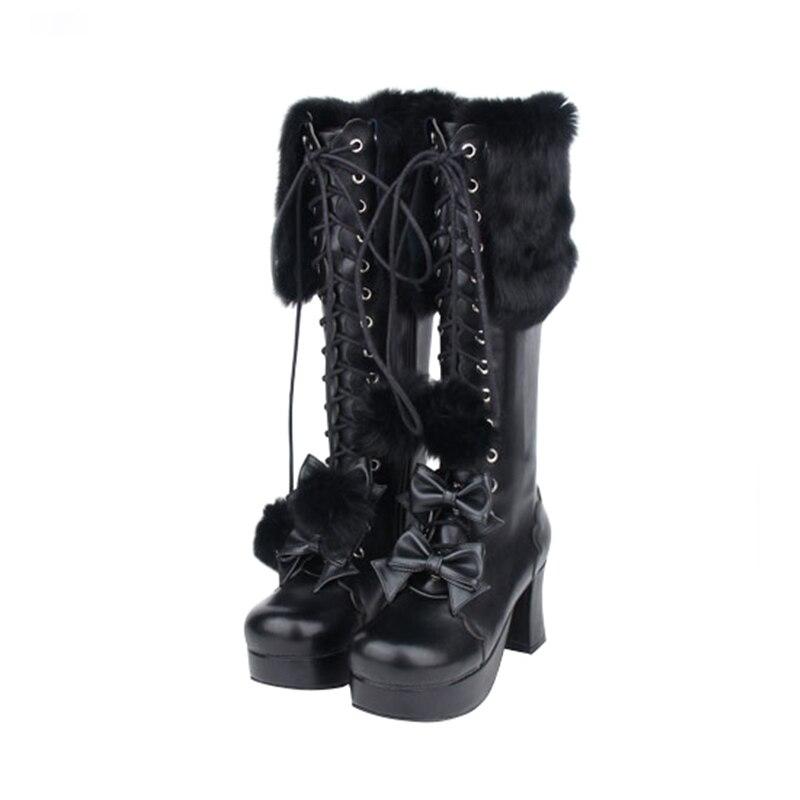 De Angelical Señora Mujer Las Bowtie Gruesos Calientes Mori Impresión Negro Botas Lolita Chica Mujeres Princesa Tacones Zapatos Motocicleta Punky Bombas AdqRwRfZx