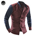 2017 Men'S Fashion Men Shirt Dot Printing Slim Square Collar Long-Sleeved Shirt Single-Breasted Shirt XXL KFHUGW