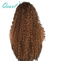 Qearl Hair 180% Thick Density Full Lace wigs Ombre Swiss Lace wig Kinky Curly Indian Remy Hair wig Pre Plucked natural hairline