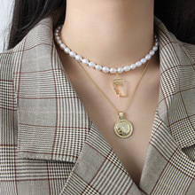 Silvology Pearl Abstract Figure Necklace 925 Sterling Silver Texture Luxurious Pendant For Women Fashionable Jewelry