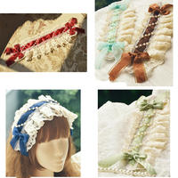 Princess sweet lolita Hairbands hand with gorgeous bonnet lace bow with 13 color spot into Lolita kc Dress Accessories MHTSP039