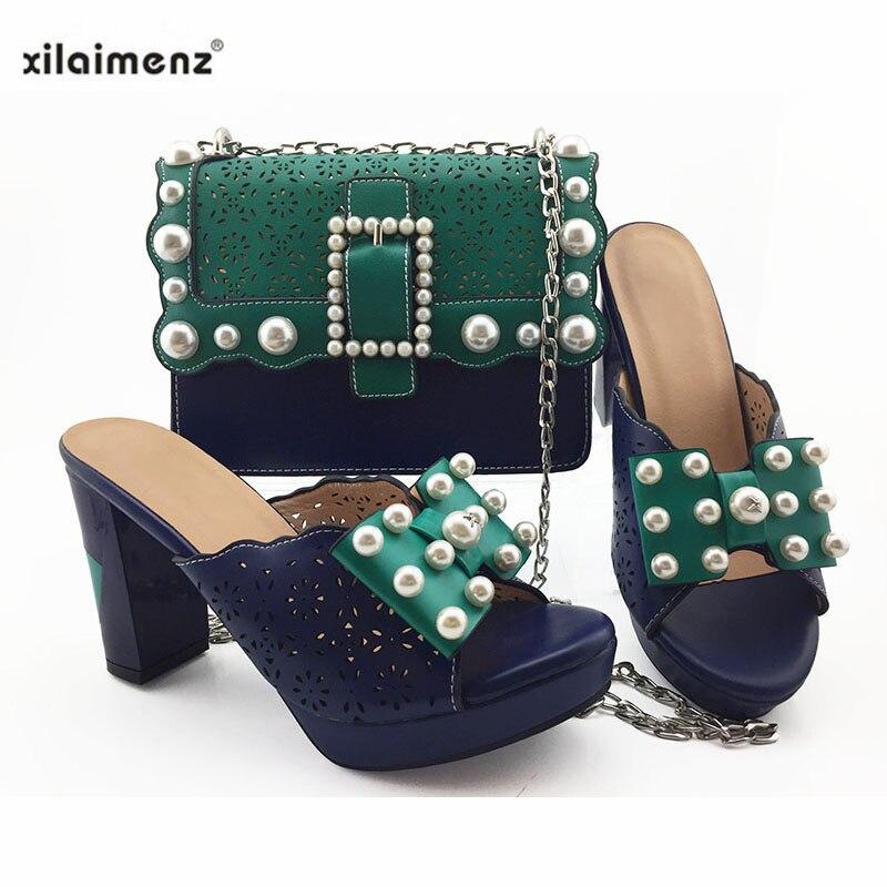 Conjunto de zapatos y bolsos especiales africanos de cuero Pu de alta calidad negro 2019 para la parte-in Zapatos de tacón de mujer from zapatos    2