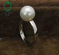 14 К белого золота драгоценные Южных морей белый жемчуг кольцо производителя бесплатная доставка
