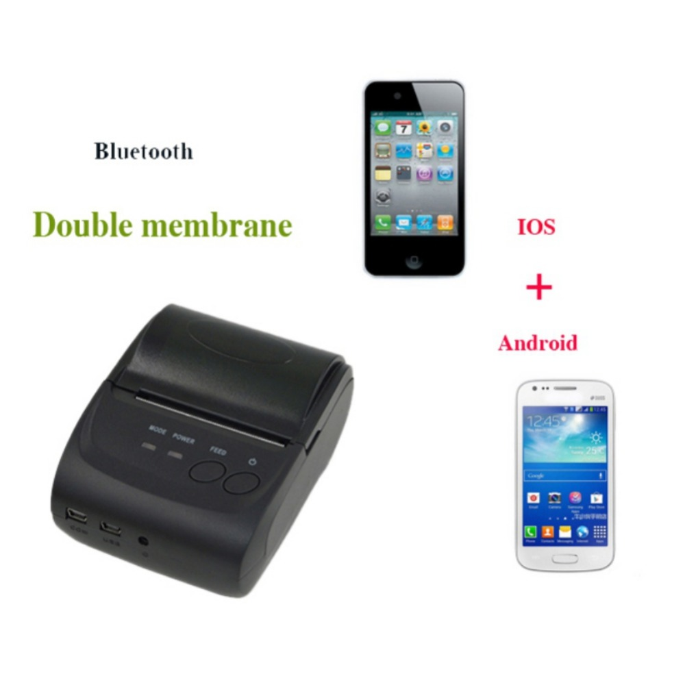 Bluetooth Thermal Receipt Printer 58mm Pocket Printer POS Thermal Receipt Printer US Adapter Support For IOS Android Windows pos 58mm bluetooth thermal mobile printer hs e20uai portable pocket receipt printer support android and ios appy to pos systems