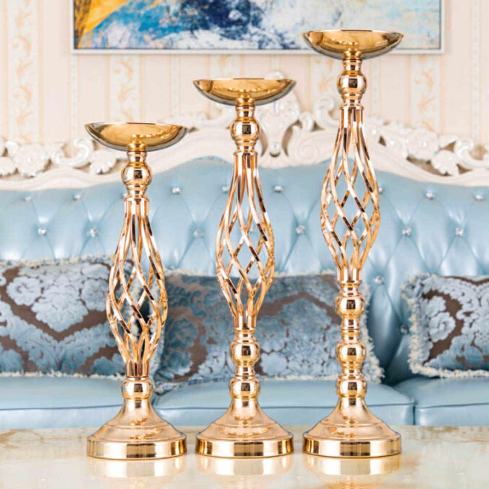 Metal Gold Stand Pillar Candlestick Flowers Vases Candle Holders Road Lead Table Centerpiece  For Wedding Candelabra