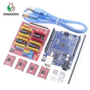 Image 4 - Macchina per incidere di cnc shield V3 3D Printe + 4pcs DRV8825 driver di scheda di espansione per Arduino UNO R3 con USB cavo