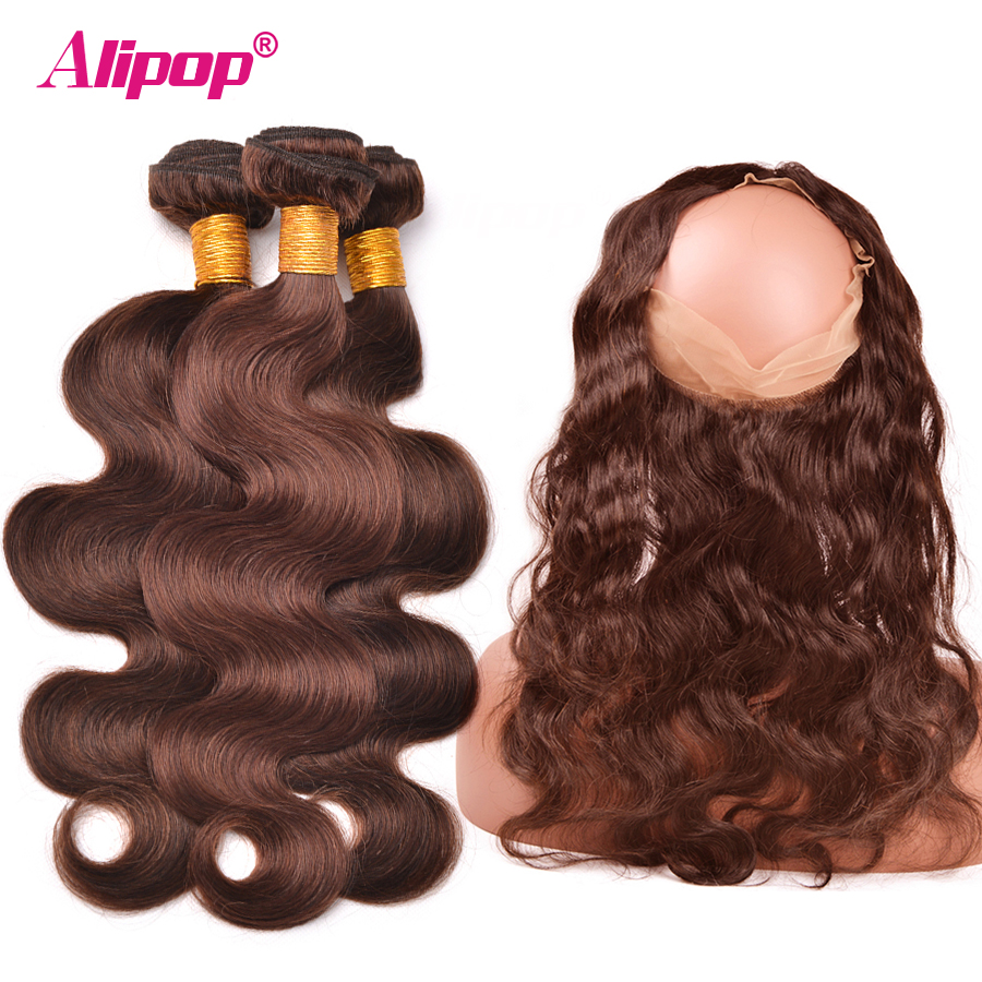 4 Light Brown 3 Bundles With Closure 360 Frontal Preplucked With Baby Hair Peruvian Body