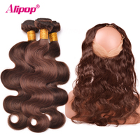 #4 Light Brown 3 Bundles With Closure 360 Frontal Preplucked With Baby Hair Peruvian Body Wave 100% Human Hair Alipop NonRemy