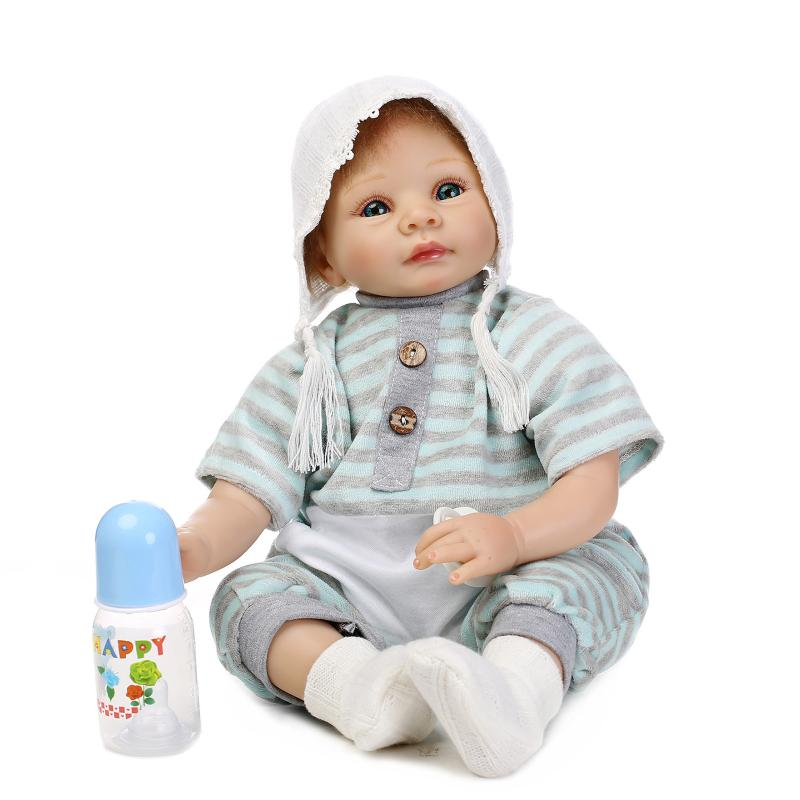 The Latest 22 inch 55CM Reborn Baby Silicone Vinyl Dolls Handmade Realistic Lovely Baby Gift Bouquets Juguetes 22 inch 55cm reborn baby silicone vinyl dolls handmade realistic lovely baby brinquedos accompany sleeping toys novelty gifts