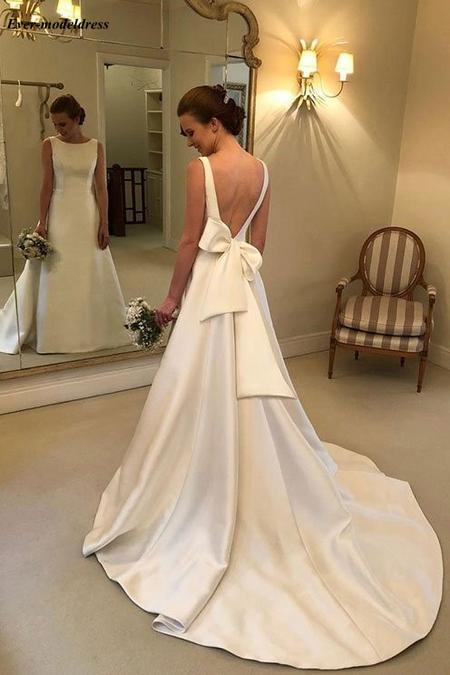 Купить женское атласное свадебное платье простое привлекательное трапеция