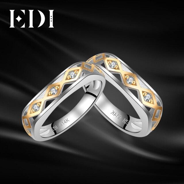 e9da1976e495 € 250.25  Anillo de compromiso de diamante de Moissanites clásicos de Eddi  para siempre 14 K 585 bandas de boda de enamorados de oro blanco ...