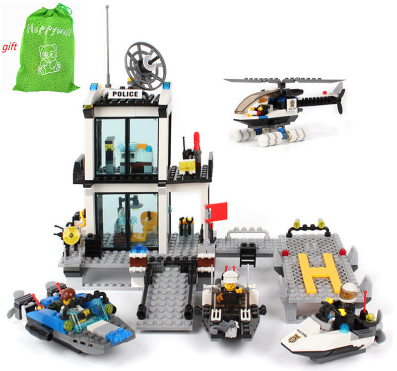 Gift bag sticker 6726 DIY Educational Aquatic Police Stations 536PCS Assembles Particles Block Toys Free Shipping free shipping happy farm set 1 diy enlighten block bricks compatible with other assembles particles