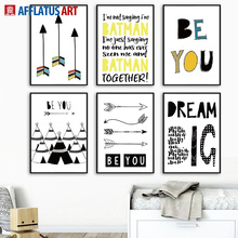 AFFLATUS Tent Arrow Letter Nordic Posters And Prints Black White Wall Art Canvas Painting Pictures For Living Room Decor