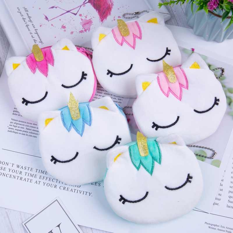 New Design Coin Bag Woman Girl Unicorn Cartoon Pattern Flamingo Coin Purses Colorful Kid Small Bag Wallet For Travel