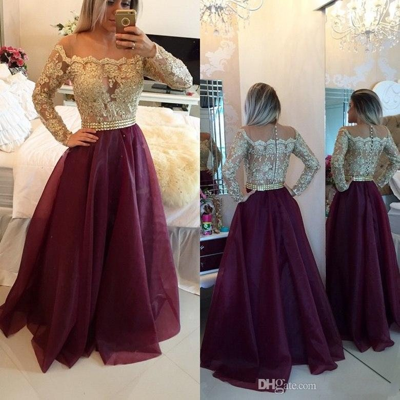 Aliexpress.com : Buy Vintage Long Sleeve Prom Dresses Cheap A Line ...
