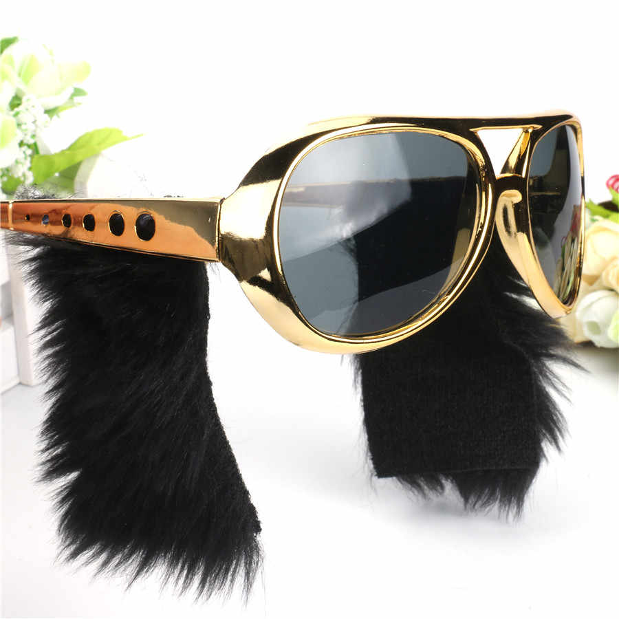 Funny Elvis Lunettes Déguisement rouflaquettes lunettes noires rock and roll Party Masque