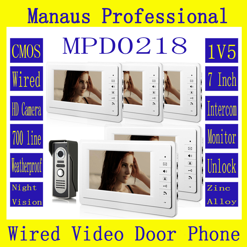 Professional Wired SmartHome 7 TFT LCD Screen Video Intercom Phone,One to Five Video Doorphone Doorbell Configuration D218a 7 inch video doorbell tft lcd hd screen wired video doorphone for villa one monitor with one metal outdoor unit night vision