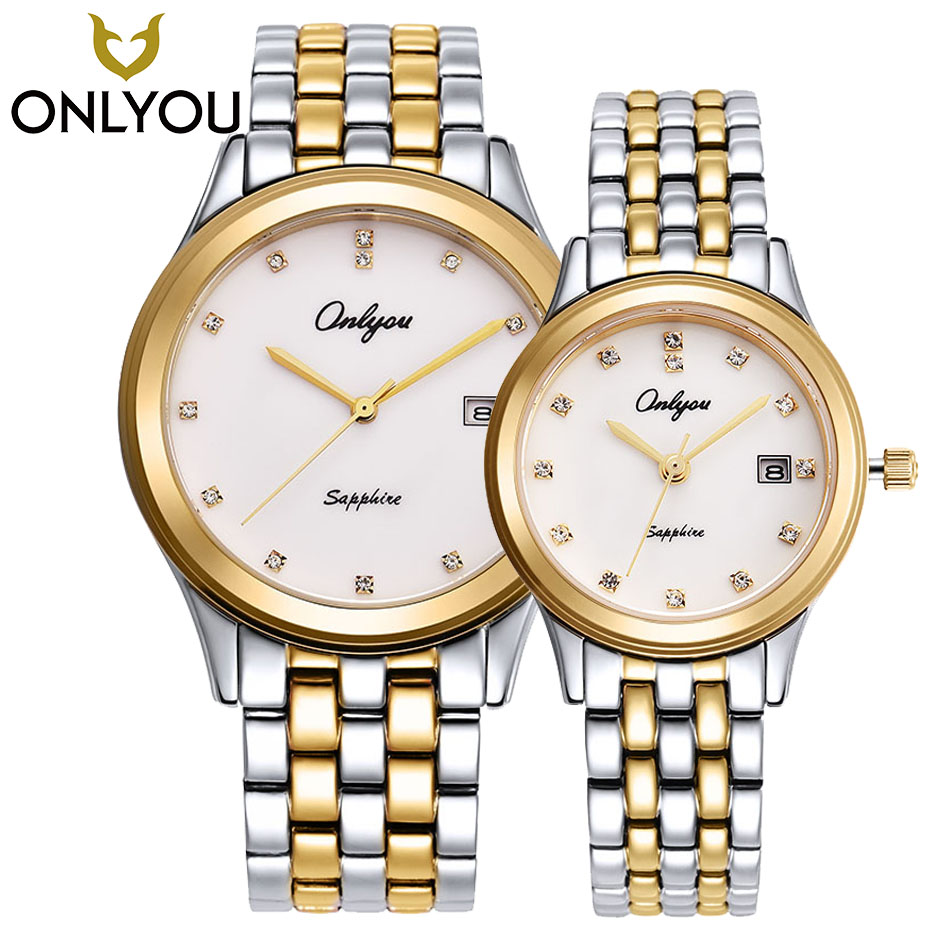 ONLYOU New Classic Fashion Men Watches Couple Lover Wristwatch Gift Ultra Thin Gold Steel Shell Watches Women Dress Quartz Clock characteristics gift spun gold wood golden couple wedding gift j new guaranteed 100% chinese