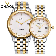 ONLYOU New Classic Fashion Men Watches Couple Lover Wristwatch Gift Ultra Thin Gold Steel Shell Watches Women Dress Quartz Clock