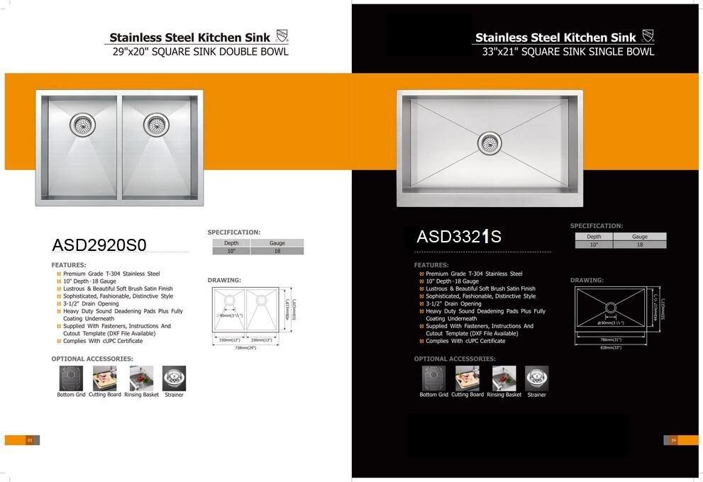UPC ceritification 304 éviers en acier inoxydable/bols simples/éviers de cuisine/offres spéciales/ASD3321S