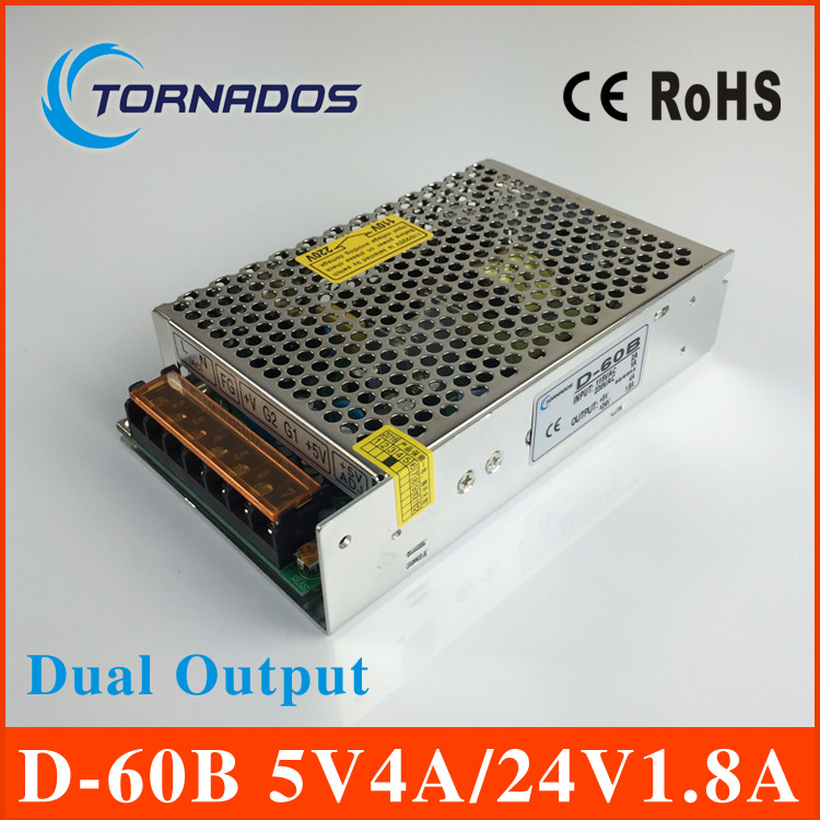 60W 5V 24V dual output power supply 5V4A 24V1.8A power suply D-60B ac dc voltage converter high quality 220v 24v 5v transformer led power suply 13 5v 201w ac to dc switching power supply ac dc converter high quality s 201 13 5v free shipping
