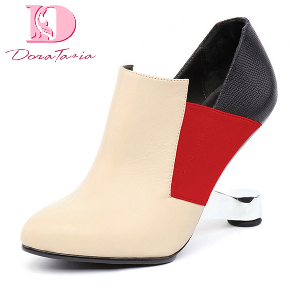 DoraTasia Brand new Cow Leather mixed colors Fashion Slip On Boots Woman Shoes Strange Style Ankle Boots Woman ShoesDoraTasia Brand new Cow Leather mixed colors Fashion Slip On Boots Woman Shoes Strange Style Ankle Boots Woman Shoes