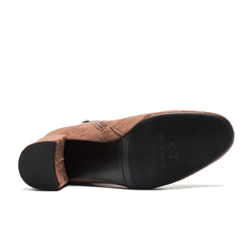40 2018 Mujer Gris Zapatos Khaki marrón Negro Cm 5 7 Más 34 Tacones Botas negro Otoño Esrfiyfe Zipper Tamaño Cuadrados Nuevas Flock Invierno HpqIdIA4