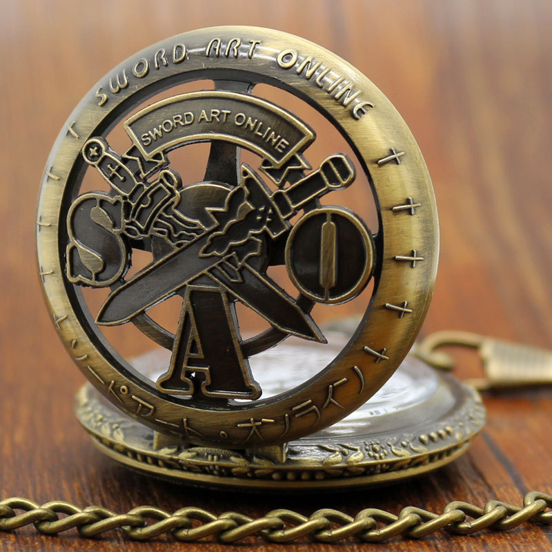 Free Shipping Vintage Bronze Sword Art Online Chain Pocket Watch Necklace Pendant Mens Christmas Gift P311C bronze quartz pocket watch old antique superman design high quality with necklace chain for gift item free shipping