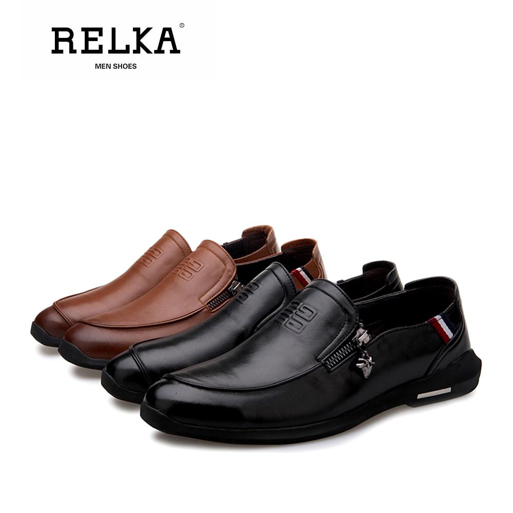 Casuais Alta Genuíno Slip De Handmade Relka black Dos Pé Qualidade P8 Redondo on Homens Do Couro Baixo Luxo Sólida Salto Dedo Clássicos Brown Sapatas Sapatos qatwYw0