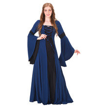 Medieval Renaissance Dress Costume Dark Blue Linen Vintage Medieval Victorian Dress Gown Cosplay Costume
