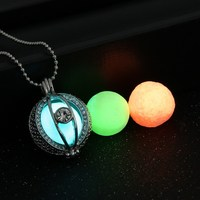 1 Necklace 3 Luminous Beads Silver Plated Long Chains Necklace Pendants Fashion Glowing Necklace Glow