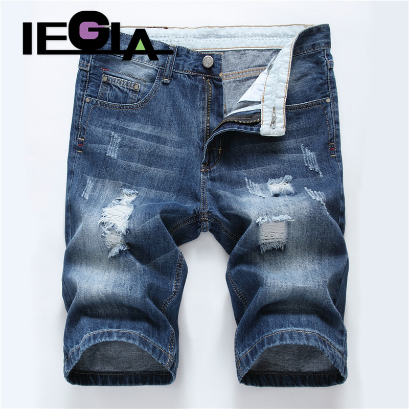 Men Jeans Summer Fashion Ripped Short Jean Brand Clothing  Straight Hole Cotton Shorts Breathable Jeans Homme Denim Shorts