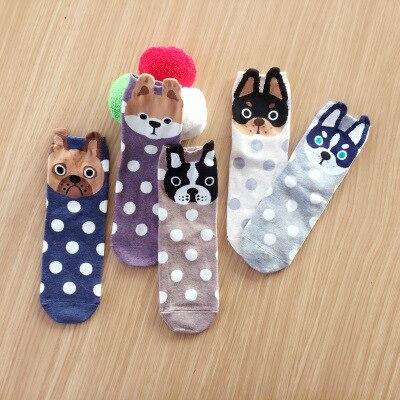 2019 Autumn And Winter Women   Socks   Small Ear Cartoon Animal Series Cute dog Harajuku Style meias Funny   Socks   Gifts