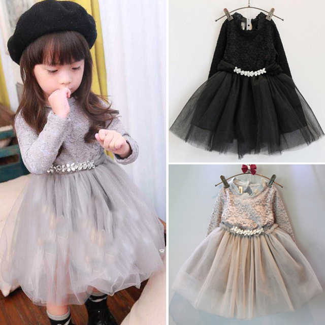 Toddler Baby Girls Lace Dress Black Gray Kids Winter