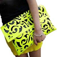 Popular Fluorescence Color Hollow Out Envelope Bag Women Candy Color One Shoulder Bag Fashion Day Clutch