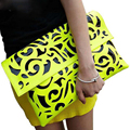 Popular Fluorescence Color Hollow-out Envelope Bag ,women Candy Color One Shoulder Bag Fashion Day Clutches Bag