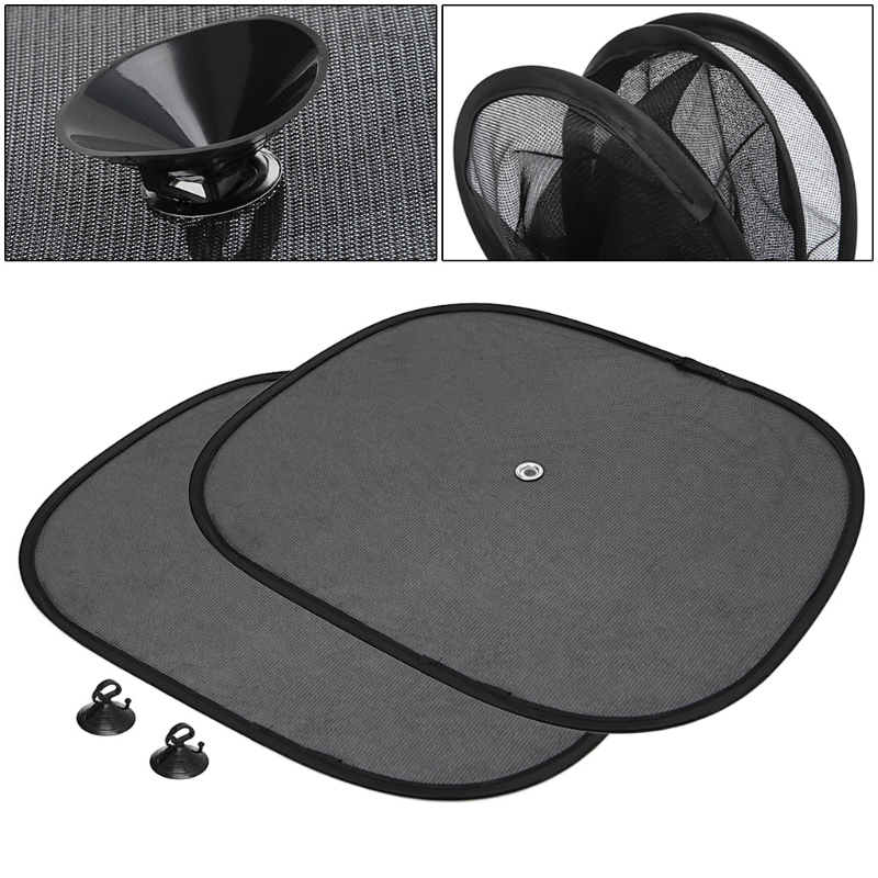 New Arrive 2Pcs Car Window Sunshade Sun Shade Visor Side Mesh Cover Shield Sunscreen Black 44 x 36 cm