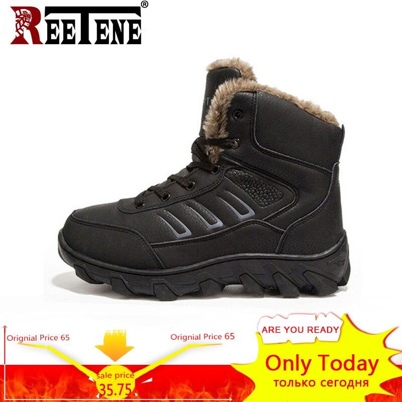 REETENE grande taille 39-48 Super chaud hommes bottes en cuir de haute qualité hiver hommes bottes de fourrure en plein air hommes chaussures de travail bottes de neige