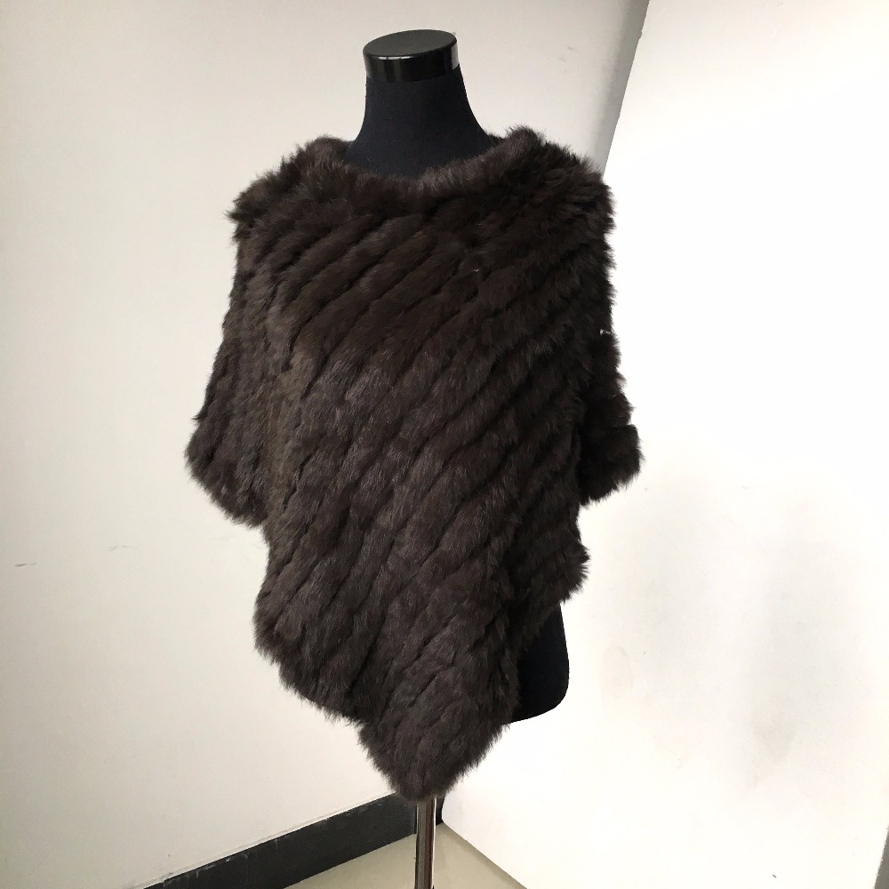 C705V SALE CLEARANCE Real Knitted rabbit Shawl poncho stole s