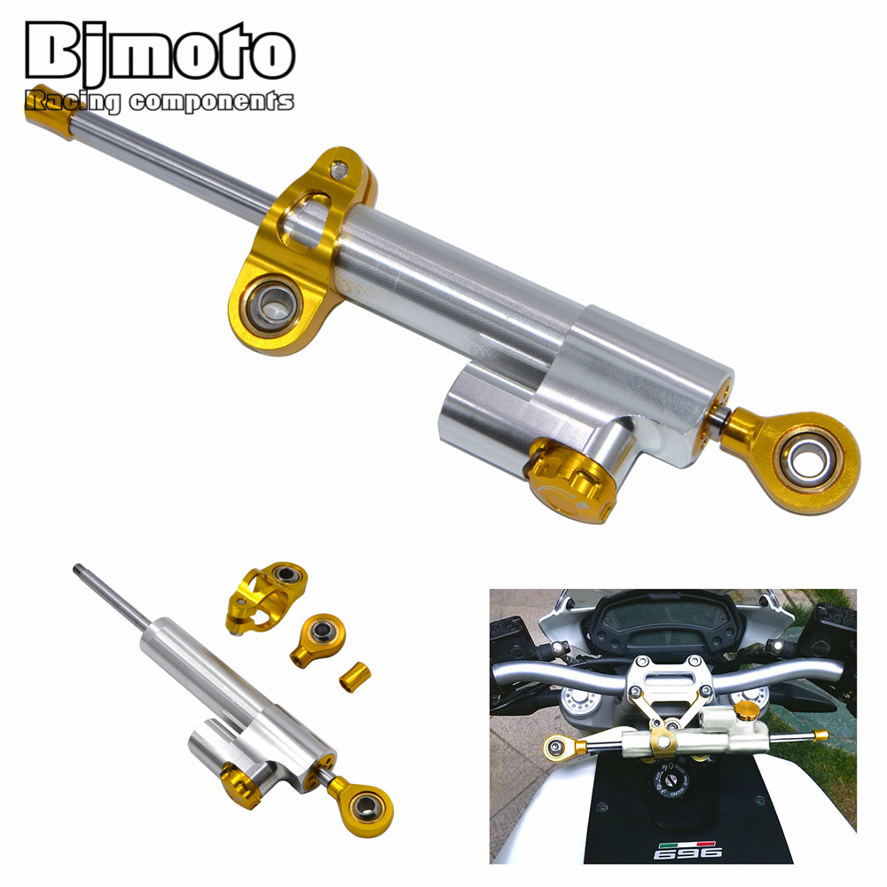 ФОТО SD-001-SV Silver Color Universal  CNC Alloy 26 gears motorbike Adjustable Steering Damper For Triumph