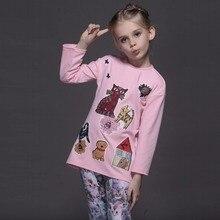 Новый стиль весна зима малыш футболки для девочек с длинным рукавом вышивка граффити футболки мультфильм дети топы