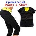 2016 T-shirt + Calças Quentes/New Mulheres Shaper Neoprene Camisetas Controle Calcinha Suar Topos Shaper Emagrecimento Elástico Terno