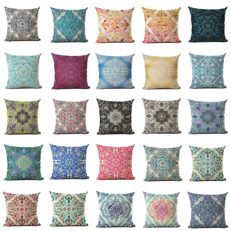 Home Décor Pillows 18 Bohemian Ethnic Geometric Cotton Linen Pillow Case Square Cushion Cover
