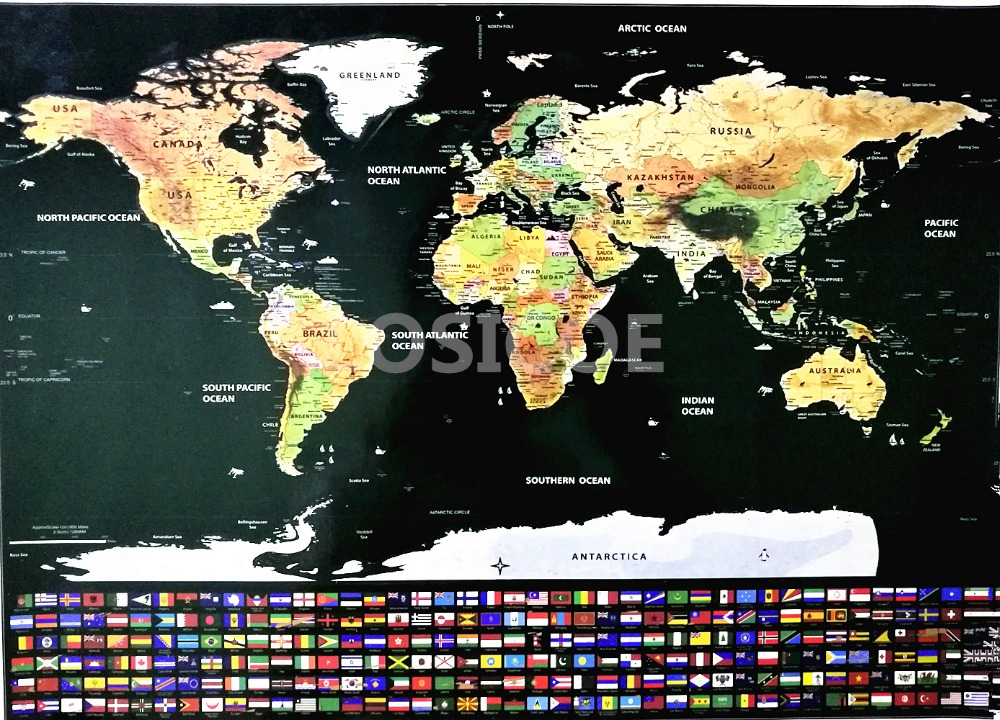 Deluxe World map Vintage posters Travel wall sticker retro paint bar cafe print picture Scratch off world maps drop shipping in Painting Calligraphy from Home Garden