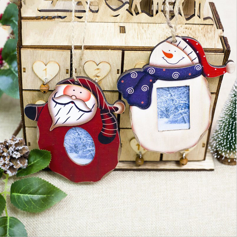 New 2PCS Christmas Pendant Drop Ornaments Wooden Christmas ...