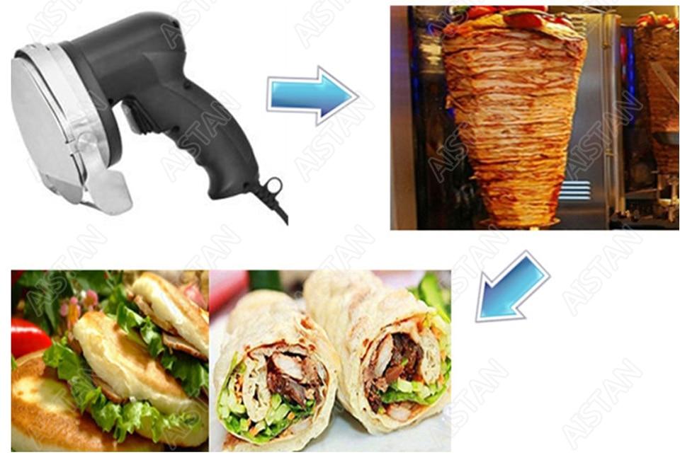 KS100E Commercial Doner Kebab Knife Slicer, Kebab Shawarma Gyros Cutter Stainless Steel Electric 80W/100mm 110V-120V/220V-240V 4