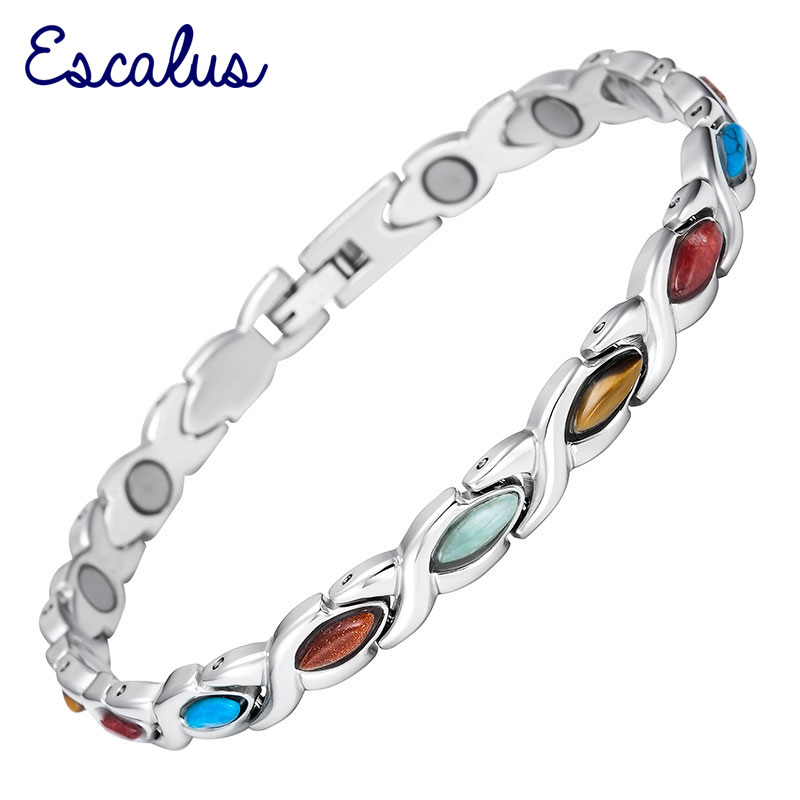 цена на Escalus Bio Colourful Women Bracelets Semi-Precious Stones Magnetic Stainless Steel Ladies Bangles Wristband Charm Female