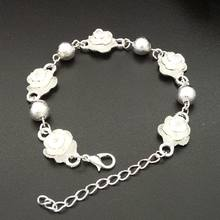SUPIN Fashion Romantic S925 Sliver Flower Beaded Bracelet For Women Trendy Metal Bracelets & Bangles Jewelry Accessories Gifts(China)