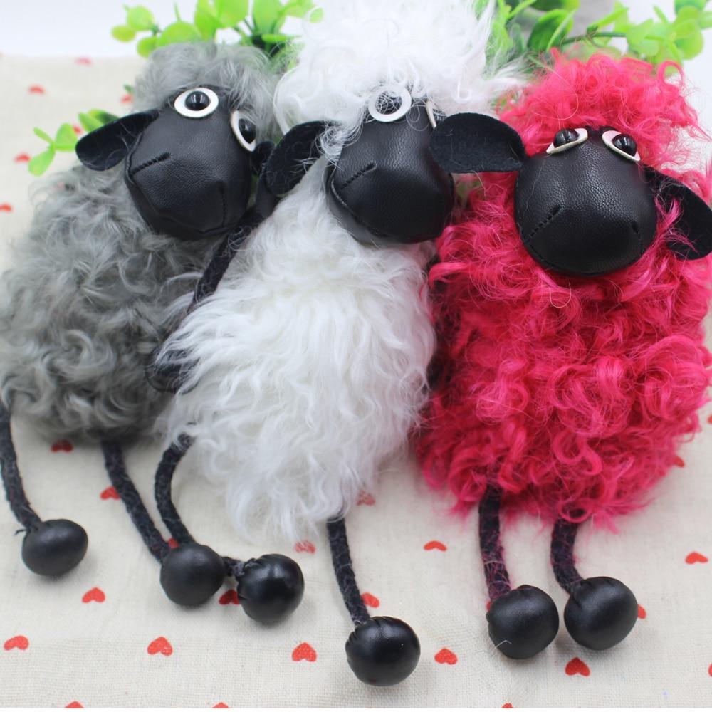 Лидер продаж новый брелок овца Настоящее шерсть ягнят Мех брелок шерсть овечья шерсть ключи сумка аксессуар