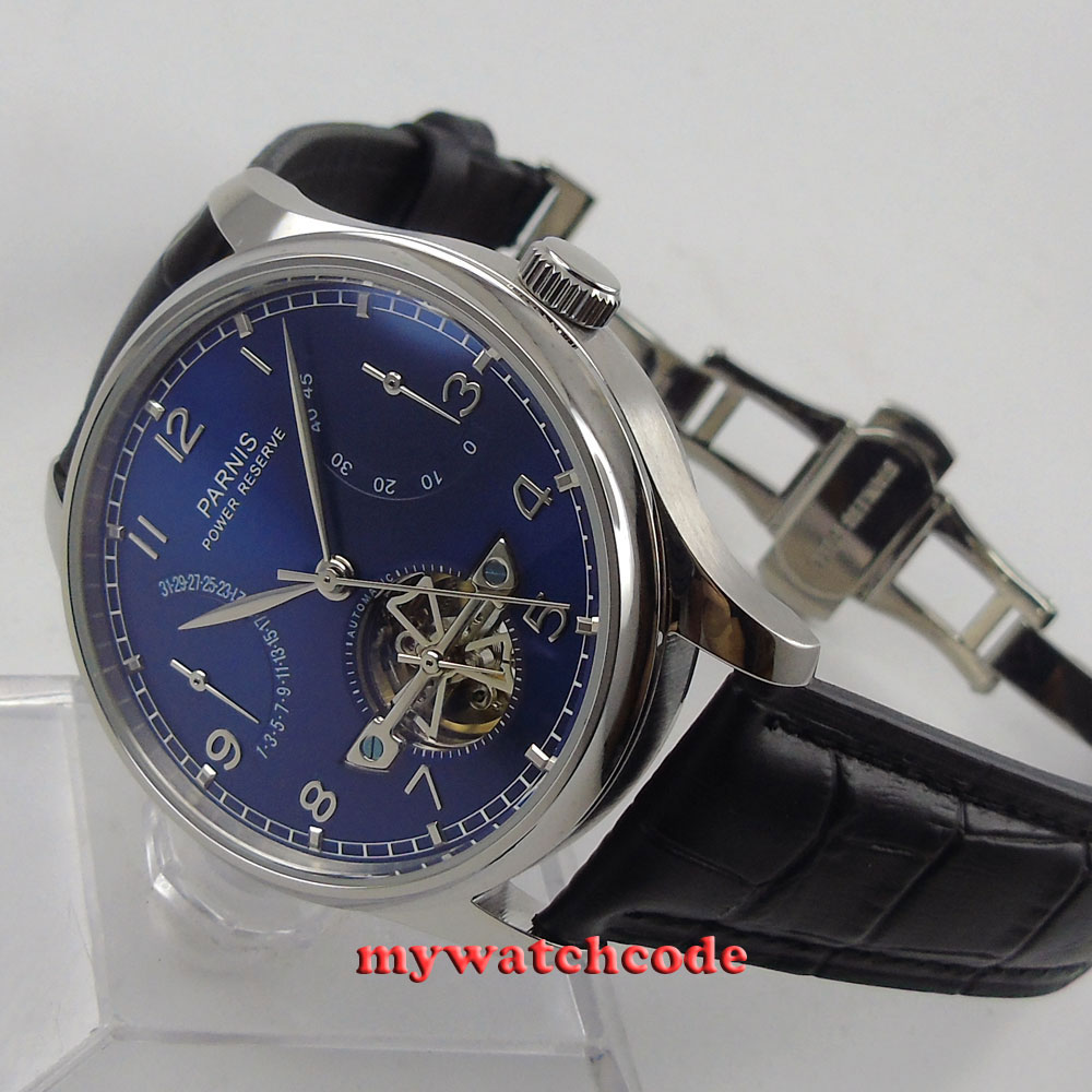 43mm parnis blue dial deployment clasp power reserve automatic mens watch 547E цена